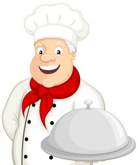 Vector illustration of a smiling cartoon chef presenting a silver platter.