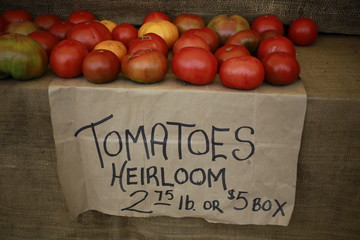 Heirloom tomatoes for sale at the Farmers Market