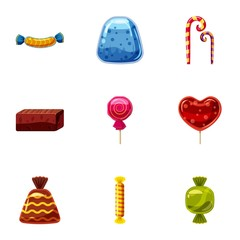 Chocolate candy icons set, cartoon style
