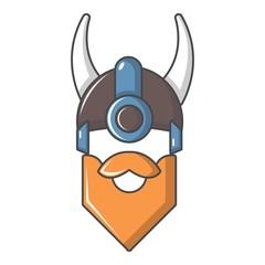 Viking in horned helmet icon, cartoon style