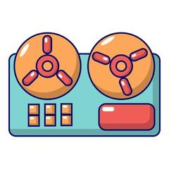 Reel to reel tape recorder icon, cartoon style