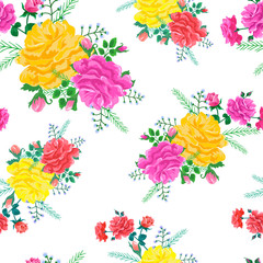 pattern with red,pink and yellow roses