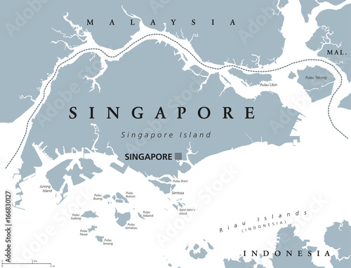 Singapore Political Map With English Labeling Republic And - Singapore map vector