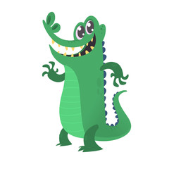 Cute cartoon crocodile. Vector illustration of alligator waving hand and presenting isolated on white background.
