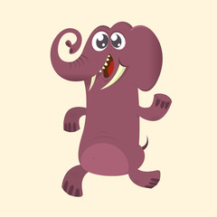 Cute cartoon elephant icon. Vector illustration with simple gradients. Great design for print
