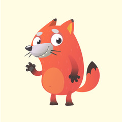 Cute cartoon fox mascot character. Vector illustration of an orange fox waving hand. Isolated on white. Character for children books, sticker, print or banner.
