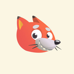 Cartoon fox icon. Vector illustration of a fox head.  Isolated on white