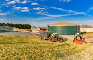 Fototapete - Maisernte - Landtechnik auf einem Silohaufen