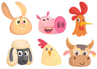 Set of cartoon farm animals head icons. Vector collection of farm domestic  animals. Rabbit, pig, rooster, sheep, chicken, cow