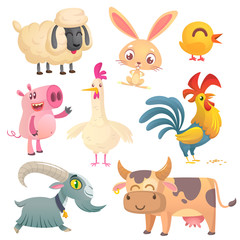 Collection of cartoon farm animals. Vector set of animal icons isolated on white. Vector illustration of sheep, bunny rabbit, cute chicken, pig, hen, rooster, goat and cow