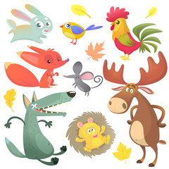 Cartoon forest animal characters.  forest animals vector illustration. Bunny rabbit, rooster, fox, mouse, wolf, hedgehog, moose elk and blue yellow bird