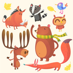 Collection of cartoon forest animals images. Vector set of animal icons isolated on white. Vector illustration of boar, badger, blue bird, elk moose, bear, owl and fox