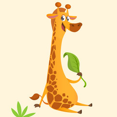 Cartoon giraffe mascot. Vector illustration of african savanna giraffe eating a leaf and smiling. Great for sticker print or design