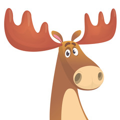 Cool carton moose. Vector illustration isolated. Poster design of sticker