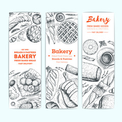 Bakery vector illustration. Vertical banner set. Hand drawn sketch with bread, pastry, sweet. Background template for design. Engraved food image.