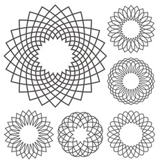 Guilloche ornaments rosette collection. Abstract decorative lines perfect for  banknotes, certificates, diplomas, vouchers or money design.