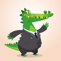 Cute cartoon crocodile, alligator or dinosaur wearing black businessman suit. Vector illustration of a lovely crocodile mascot isolated