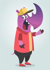 Cartoon teenage fashion hipster purple rhino. Flat vector illustration.