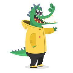 Cartoon hipster crocodile in a yellow rain coat. Animal in clothing. Casual style. Cartoon vector illustration. Anthropomorphic.