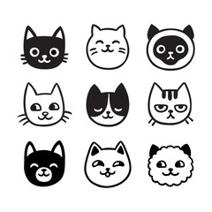 Cute cat doodle set