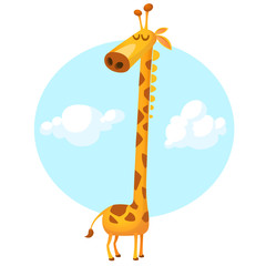 Funny giraffe cartoon. Vector illustration isolated