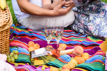 Couple in love, champagne wine in glasses on picnic. Family concept