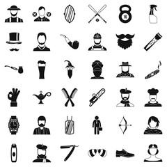 Beard icons set, simple style