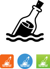 Message In A Bottle Icon - Illustration