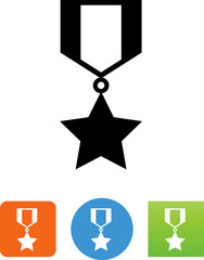 Military Ribbon With Star Icon - Illustration