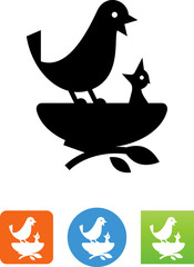 Momma And Baby Bird In Nest Icon
