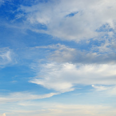 Fototapete - Light cirrus clouds in the blue bright sky.