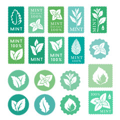 Mint leaves badges, banners and stickers collection
