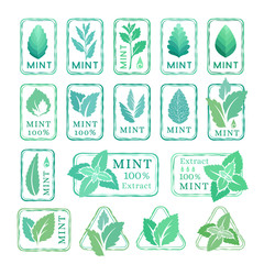Mint leaves stamps and stickers collection