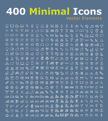 Set of 400 UniversaL Icons (Hotel, Travel, People, Restaurant, Home Appliances, Baby, Veterinary, Weather, Airplane, Casino, War, Music , Beach, Christmas and Sport ) . Isolated Elements