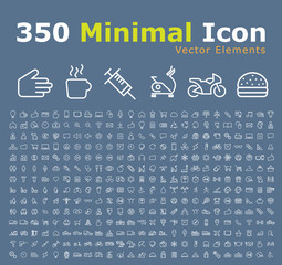 Set of 350 Modern Thin Line Colored Icons (Multimedia, Business, Ecology, Education, Family, Medical, Fitness, Shopping, Construction, Travel, Hotel )
