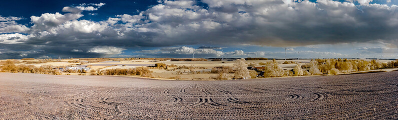 Natural landscape infrared panoramic view with beautiful clouds