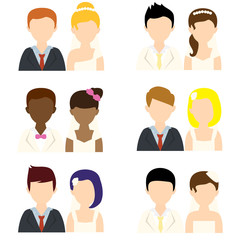wedding people flat icons
