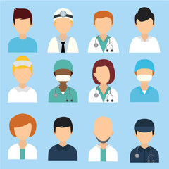 Medical character icons, avatar, people.
