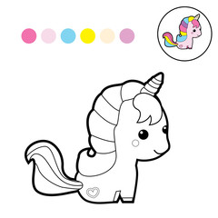 Cute unicorn clipart coloring activity. Vector illustration