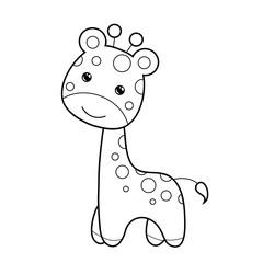 Cute giraffe clipart coloring activity. Vector illustration