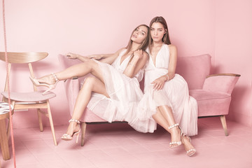 Fashionable twins sisters posing on pink background.