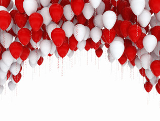 Birthday celebration balloons red and white. Isolated on white background