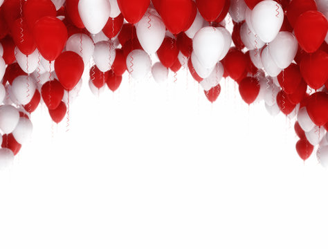 Red and white birthday balloons isolated on white background