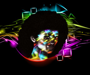 Afro Art Woman, colorful digital art with abstract background and a vintage and retro look. Perfect for themes of diversity, beauty, fashion, disco, art and more!