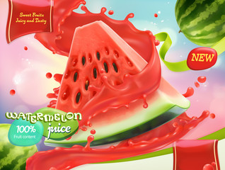 Watermelon juice. Sweet fruits. 3d realistic vector, package design