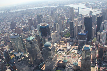 New York: The 911 memorial and the construction site of the One World Trade Center in 2011