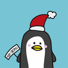 Cute penguin with Christmas hat cartoon vector illustration