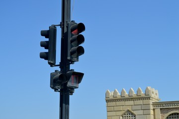 Traffic light with red light. traffic light background