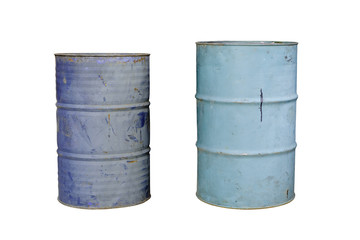 Old metal barrel oil on white background.
