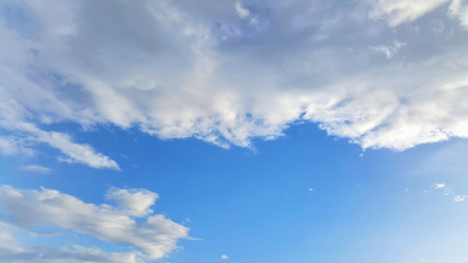 Blue sky with white scatter cloud pattern.